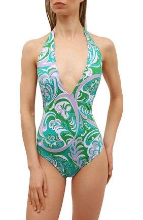 Женский слитный купальник EMILIO PUCCI зеленого цвета, арт. 1RMC10/1R887 | Фото 2