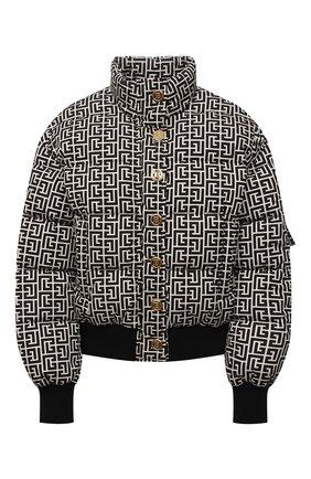 Женская пуховая куртка BALMAIN черно-белого цвета, арт. WF1TP010/I710   Фото 1 (Материал утеплителя: Пух и перо; Длина (верхняя одежда): Короткие; Рукава: Длинные; Материал подклада: Синтетический материал; Материал внешний: Синтетический материал; Стили: Спорт-шик; Кросс-КТ: Куртка; Женское Кросс-КТ: Пуховик-куртка)