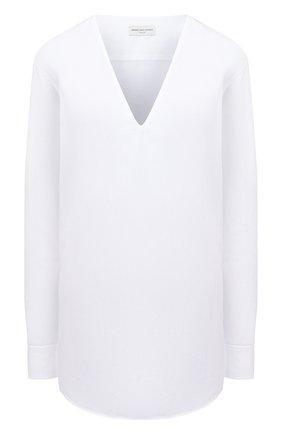 Женская хлопковая блузка DRIES VAN NOTEN белого цвета, арт. 212-010724-3169   Фото 1 (Рукава: Длинные; Длина (для топов): Удлиненные; Материал внешний: Хлопок; Стили: Кэжуэл; Женское Кросс-КТ: Блуза-одежда; Принт: Без принта)