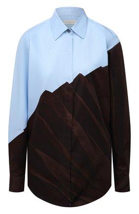 Женская хлопковая рубашка DRIES VAN NOTEN коричневого цвета, арт. 212-010765-3078 | Фото 1 (Рукава: Длинные; Материал внешний: Хлопок; Длина (для топов): Удлиненные; Стили: Романтичный; Принт: С принтом; Женское Кросс-КТ: Рубашка-одежда)