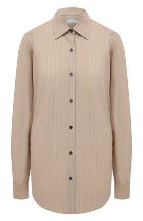 Женская хлопковая рубашка DRIES VAN NOTEN бежевого цвета, арт. 212-010766-3236   Фото 1 (Материал внешний: Хлопок; Рукава: Длинные; Длина (для топов): Удлиненные; Стили: Кэжуэл; Принт: Полоска; Женское Кросс-КТ: Рубашка-одежда)