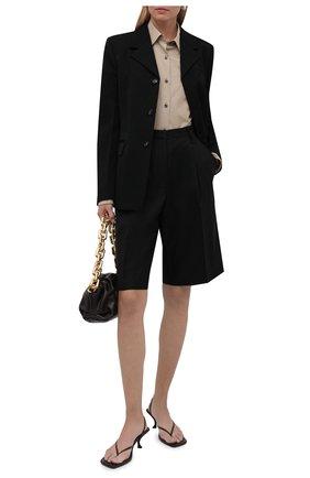 Женская хлопковая рубашка DRIES VAN NOTEN бежевого цвета, арт. 212-010766-3236   Фото 2 (Материал внешний: Хлопок; Рукава: Длинные; Длина (для топов): Удлиненные; Стили: Кэжуэл; Принт: Полоска; Женское Кросс-КТ: Рубашка-одежда)