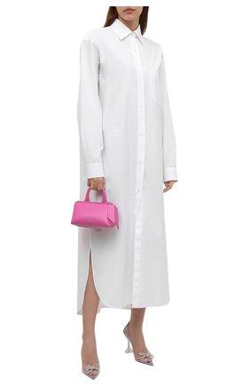 Женское хлопковое платье DRIES VAN NOTEN белого цвета, арт. 212-011028-3228 | Фото 2 (Материал внешний: Хлопок; Рукава: Длинные; Стили: Кэжуэл; Случай: Повседневный; Женское Кросс-КТ: Платье-одежда; Длина Ж (юбки, платья, шорты): Миди)