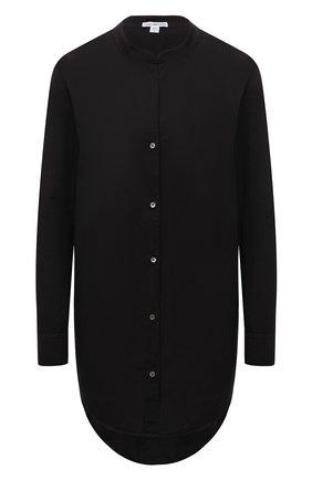 Женская хлопковая рубашка JAMES PERSE черного цвета, арт. WLC3642   Фото 1 (Рукава: Длинные; Длина (для топов): Удлиненные; Материал внешний: Хлопок; Стили: Кэжуэл; Принт: Без принта; Женское Кросс-КТ: Рубашка-одежда)