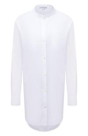 Женская хлопковая рубашка JAMES PERSE белого цвета, арт. WLC3642 | Фото 1 (Материал внешний: Хлопок; Длина (для топов): Удлиненные; Рукава: Длинные; Стили: Кэжуэл; Принт: Без принта; Женское Кросс-КТ: Рубашка-одежда)