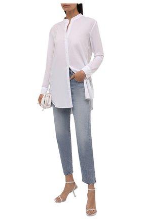 Женская хлопковая рубашка JAMES PERSE белого цвета, арт. WLC3642   Фото 2 (Материал внешний: Хлопок; Длина (для топов): Удлиненные; Рукава: Длинные; Стили: Кэжуэл; Принт: Без принта; Женское Кросс-КТ: Рубашка-одежда)