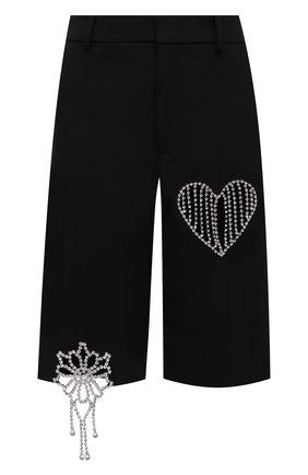 Женские шорты AREA черного цвета, арт. 2103P08032 | Фото 1 (Материал внешний: Шерсть, Синтетический материал; Длина Ж (юбки, платья, шорты): Миди; Стили: Гламурный; Женское Кросс-КТ: Шорты-одежда)