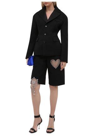 Женские шорты AREA черного цвета, арт. 2103P08032 | Фото 2 (Материал внешний: Шерсть, Синтетический материал; Длина Ж (юбки, платья, шорты): Миди; Стили: Гламурный; Женское Кросс-КТ: Шорты-одежда)