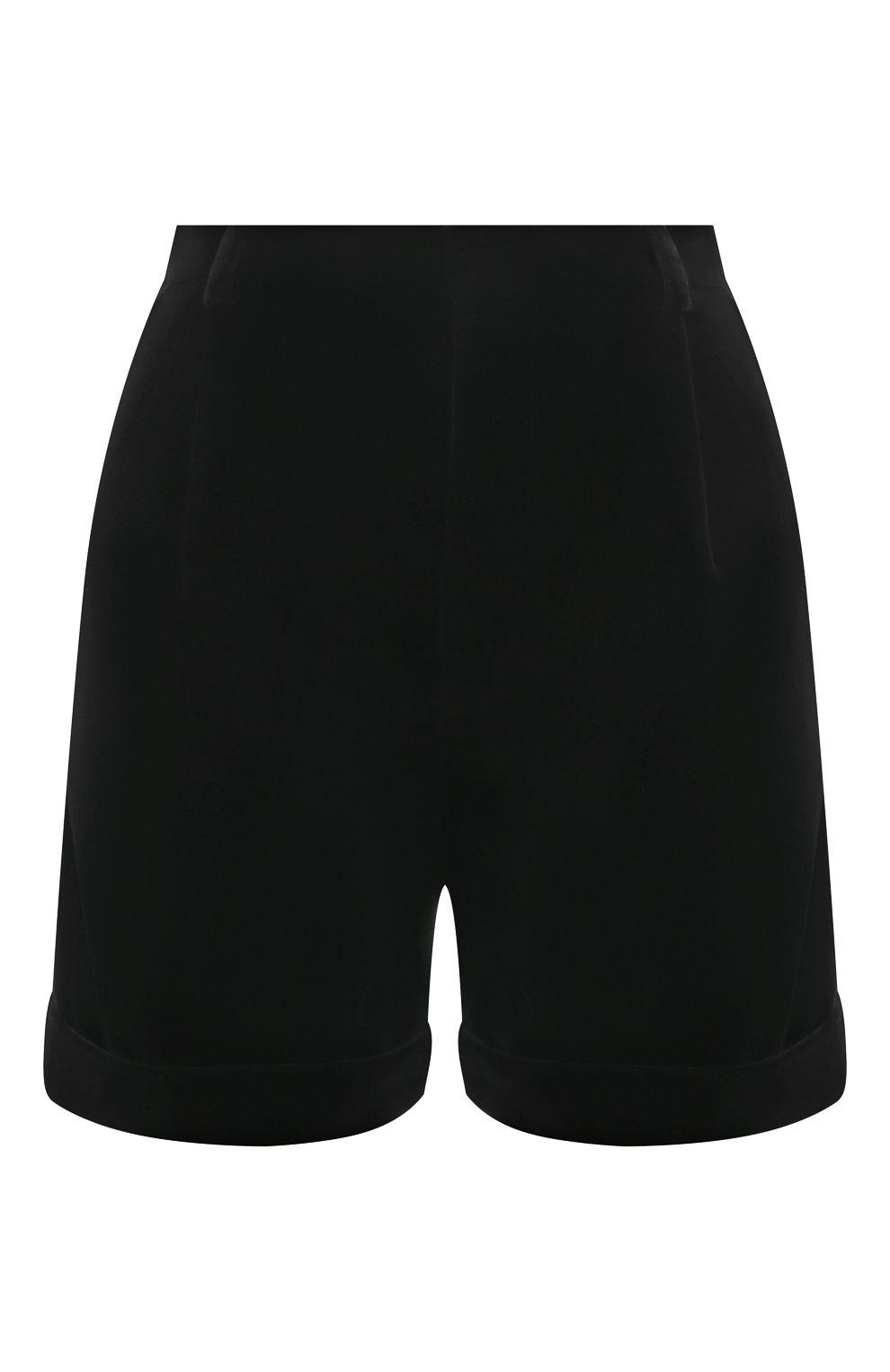 Женские хлопковые шорты SAINT LAURENT черного цвета, арт. 661357/Y615W | Фото 1 (Женское Кросс-КТ: Шорты-одежда; Стили: Гламурный; Длина Ж (юбки, платья, шорты): Мини; Материал внешний: Хлопок; Материал подклада: Шелк)