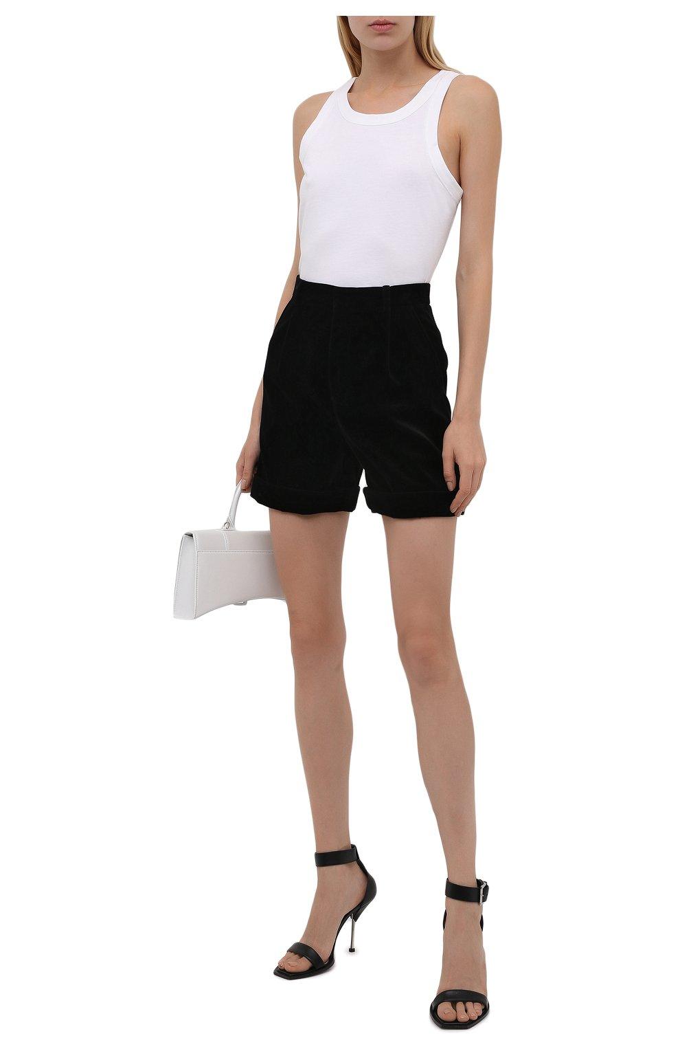 Женские хлопковые шорты SAINT LAURENT черного цвета, арт. 661357/Y615W | Фото 2 (Женское Кросс-КТ: Шорты-одежда; Стили: Гламурный; Длина Ж (юбки, платья, шорты): Мини; Материал внешний: Хлопок; Материал подклада: Шелк)