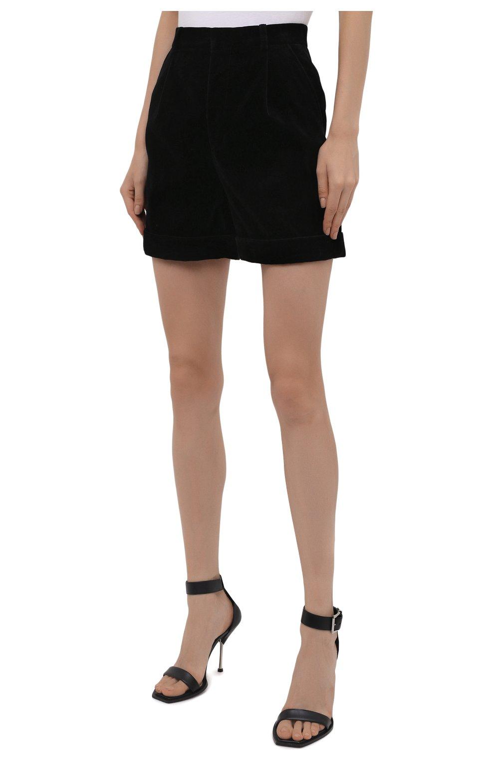 Женские хлопковые шорты SAINT LAURENT черного цвета, арт. 661357/Y615W | Фото 3 (Женское Кросс-КТ: Шорты-одежда; Стили: Гламурный; Длина Ж (юбки, платья, шорты): Мини; Материал внешний: Хлопок; Материал подклада: Шелк)