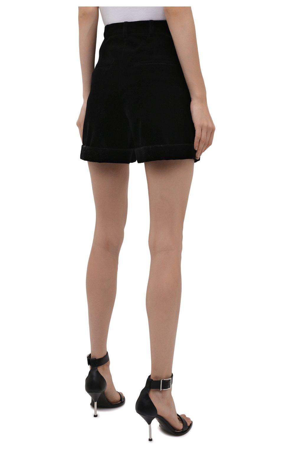 Женские хлопковые шорты SAINT LAURENT черного цвета, арт. 661357/Y615W | Фото 4 (Женское Кросс-КТ: Шорты-одежда; Стили: Гламурный; Длина Ж (юбки, платья, шорты): Мини; Материал внешний: Хлопок; Материал подклада: Шелк)