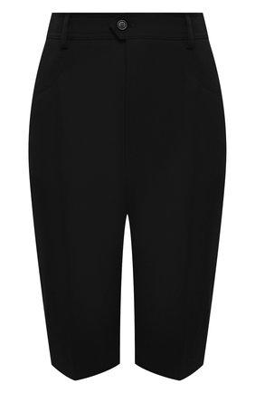 Женские шерстяные шорты SAINT LAURENT черного цвета, арт. 661317/Y512W | Фото 1 (Материал внешний: Шерсть; Длина Ж (юбки, платья, шорты): Миди; Стили: Гламурный; Женское Кросс-КТ: Шорты-одежда)