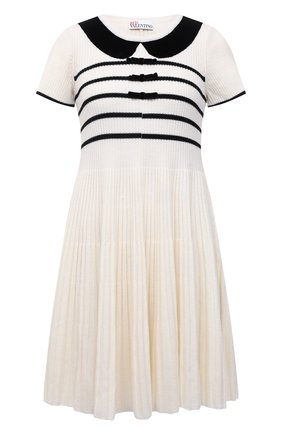 Женское шерстяное платье REDVALENTINO черно-белого цвета, арт. WR3KD02X/63U | Фото 1 (Материал внешний: Шерсть; Рукава: Короткие; Длина Ж (юбки, платья, шорты): Мини; Стили: Романтичный; Кросс-КТ: Трикотаж; Случай: Повседневный; Женское Кросс-КТ: Платье-одежда)