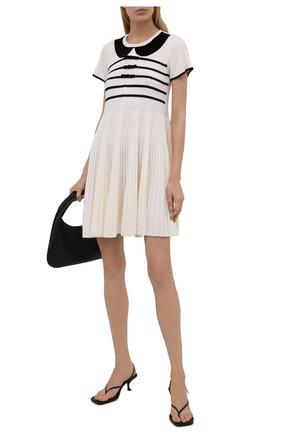 Женское шерстяное платье REDVALENTINO черно-белого цвета, арт. WR3KD02X/63U | Фото 2 (Материал внешний: Шерсть; Рукава: Короткие; Длина Ж (юбки, платья, шорты): Мини; Стили: Романтичный; Кросс-КТ: Трикотаж; Случай: Повседневный; Женское Кросс-КТ: Платье-одежда)