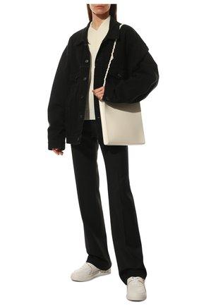Женские кожаные кеды single stud VALENTINO белого цвета, арт. WW2S0CS4/RUS | Фото 2 (Подошва: Платформа; Материал внутренний: Текстиль, Натуральная кожа; Материал внешний: Замша)