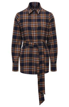 Женская хлопковая рубашка KITON разноцветного цвета, арт. D52409H07486   Фото 1 (Длина (для топов): Удлиненные; Материал внешний: Хлопок; Рукава: Длинные; Стили: Кэжуэл; Принт: Клетка; Женское Кросс-КТ: Рубашка-одежда)