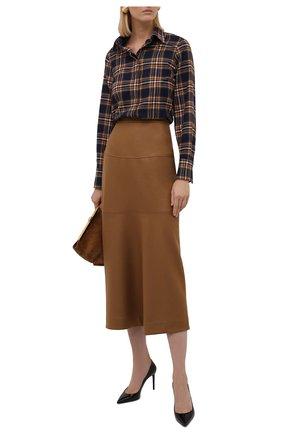 Женская хлопковая рубашка KITON разноцветного цвета, арт. D52409H07486   Фото 2 (Длина (для топов): Удлиненные; Материал внешний: Хлопок; Рукава: Длинные; Стили: Кэжуэл; Принт: Клетка; Женское Кросс-КТ: Рубашка-одежда)