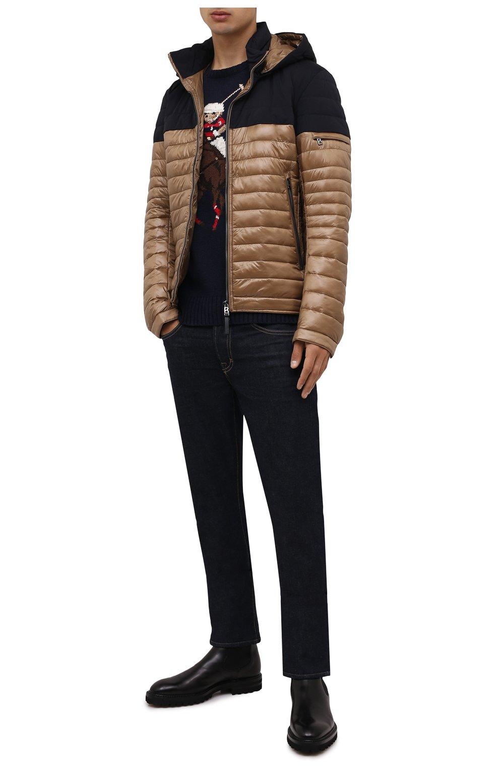 Мужская утепленная куртка BOGNER коричневого цвета, арт. 38006550 | Фото 2 (Кросс-КТ: Куртка; Мужское Кросс-КТ: пуховик-короткий; Рукава: Длинные; Материал внешний: Синтетический материал; Длина (верхняя одежда): Короткие; Стили: Кэжуэл)