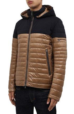 Мужская утепленная куртка BOGNER коричневого цвета, арт. 38006550 | Фото 3 (Кросс-КТ: Куртка; Мужское Кросс-КТ: пуховик-короткий; Рукава: Длинные; Материал внешний: Синтетический материал; Длина (верхняя одежда): Короткие; Стили: Кэжуэл)