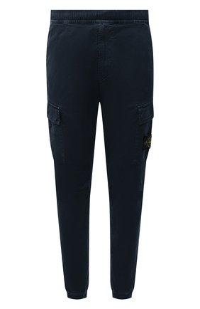 Мужские хлопковые джоггеры STONE ISLAND темно-синего цвета, арт. 7515313L1 | Фото 1 (Материал внешний: Хлопок; Силуэт М (брюки): Джоггеры, Карго; Стили: Кэжуэл; Длина (брюки, джинсы): Стандартные)