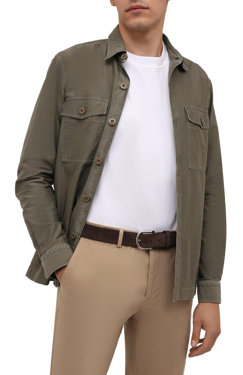 Мужской замшевый ремень BRIONI коричневого цвета, арт. 0BAN0L/09722 | Фото 2 (Случай: Формальный)