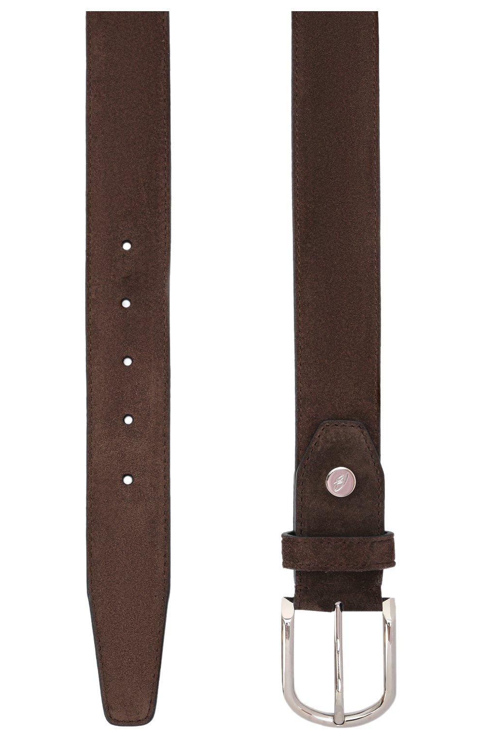 Мужской замшевый ремень BRIONI коричневого цвета, арт. 0BAN0L/09722 | Фото 3 (Случай: Формальный)