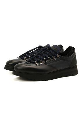 Мужские кожаные кроссовки BARRETT темно-синего цвета, арт. MEGEVE-10970.7/C0RAL | Фото 1 (Подошва: Массивная; Материал утеплителя: Натуральный мех; Стили: Классический)