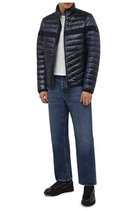Мужские кожаные кроссовки BARRETT темно-синего цвета, арт. MEGEVE-10970.7/C0RAL | Фото 2 (Подошва: Массивная; Материал утеплителя: Натуральный мех; Стили: Классический)