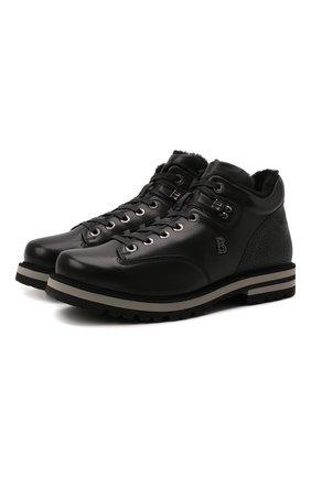 Мужские кожаные ботинки BOGNER черного цвета, арт. 12141843/C0URCHEVEL M 8 C | Фото 1 (Материал утеплителя: Натуральный мех; Подошва: Плоская; Мужское Кросс-КТ: Ботинки-обувь, зимние ботинки)