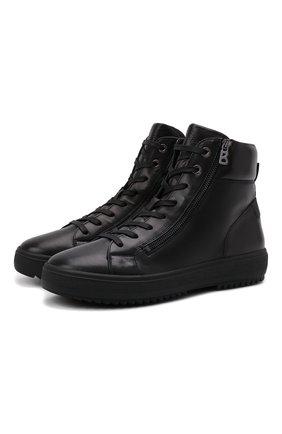 Мужские кожаные кеды BOGNER черного цвета, арт. 12142242/ANCH0RAGE M 4 C | Фото 1 (Материал внутренний: Текстиль; Подошва: Массивная)