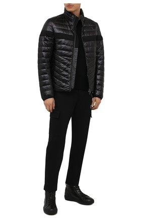 Мужские кожаные кеды BOGNER черного цвета, арт. 12142242/ANCH0RAGE M 4 C | Фото 2 (Материал внутренний: Текстиль; Подошва: Массивная)