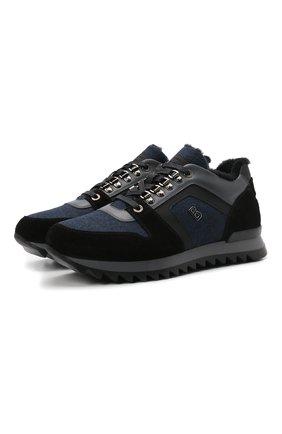 Мужские комбинированные кроссовки BOGNER темно-синего цвета, арт. 12149363/SEATTLE M 9 A | Фото 1 (Материал утеплителя: Натуральный мех; Стили: Классический; Подошва: Массивная)