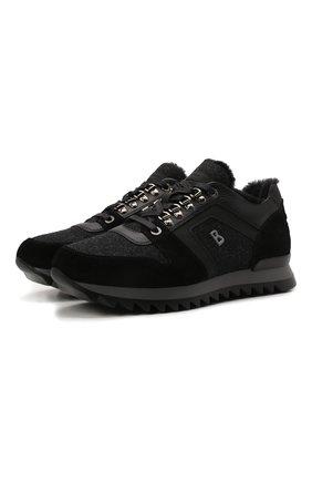 Мужские комбинированные кроссовки BOGNER темно-серого цвета, арт. 12149363/SEATTLE M 9 A | Фото 1 (Материал утеплителя: Натуральный мех; Стили: Классический; Подошва: Массивная)