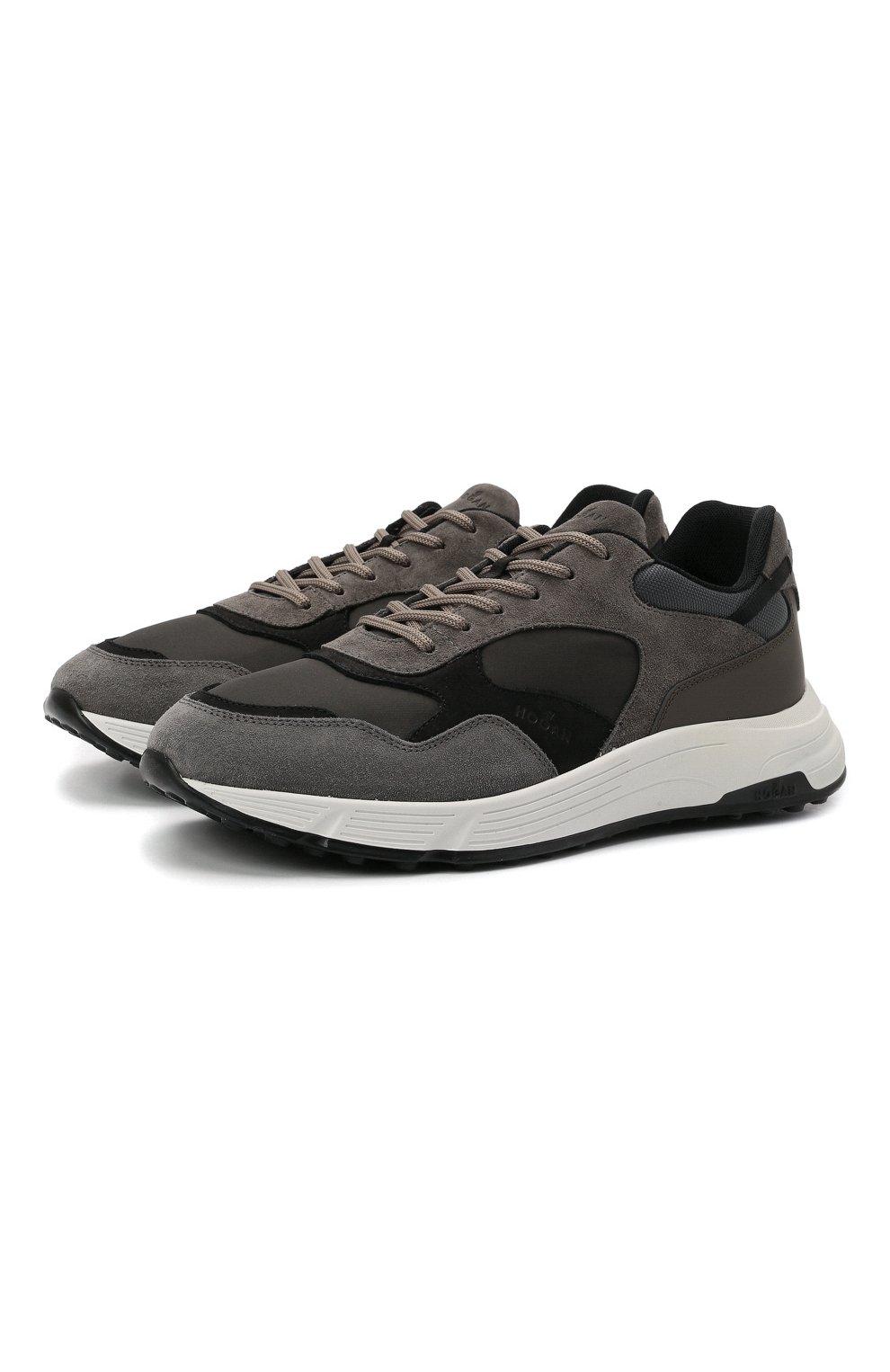 Мужские комбинированные кроссовки HOGAN серого цвета, арт. HXM5630DM90QDH   Фото 1 (Материал внешний: Текстиль; Материал внутренний: Текстиль; Подошва: Массивная)