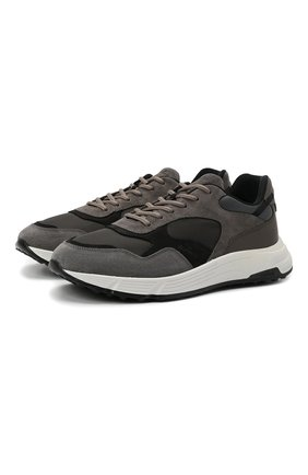 Мужские комбинированные кроссовки HOGAN серого цвета, арт. HXM5630DM90QDH | Фото 1