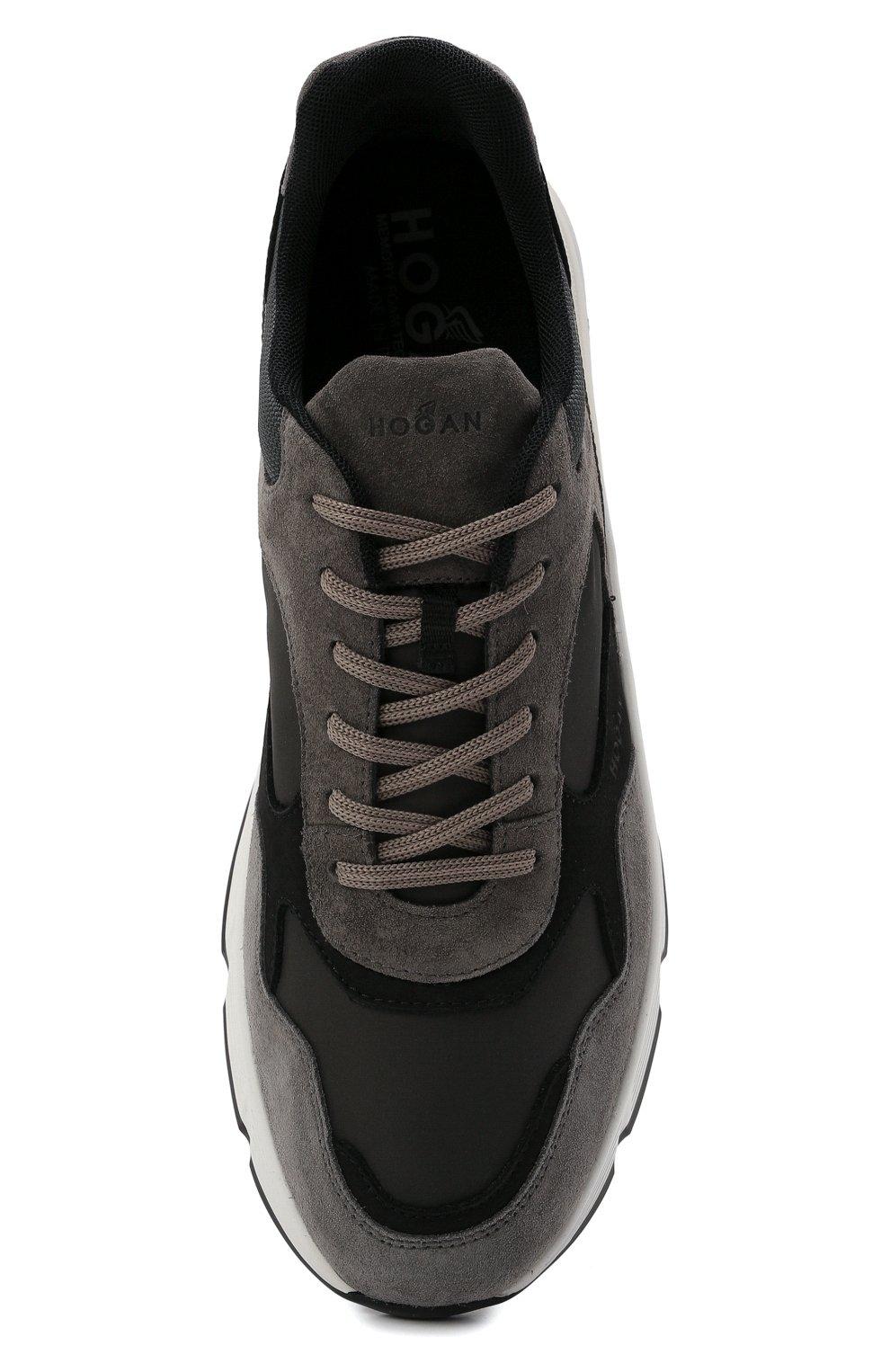 Мужские комбинированные кроссовки HOGAN серого цвета, арт. HXM5630DM90QDH   Фото 5 (Материал внешний: Текстиль; Материал внутренний: Текстиль; Подошва: Массивная)