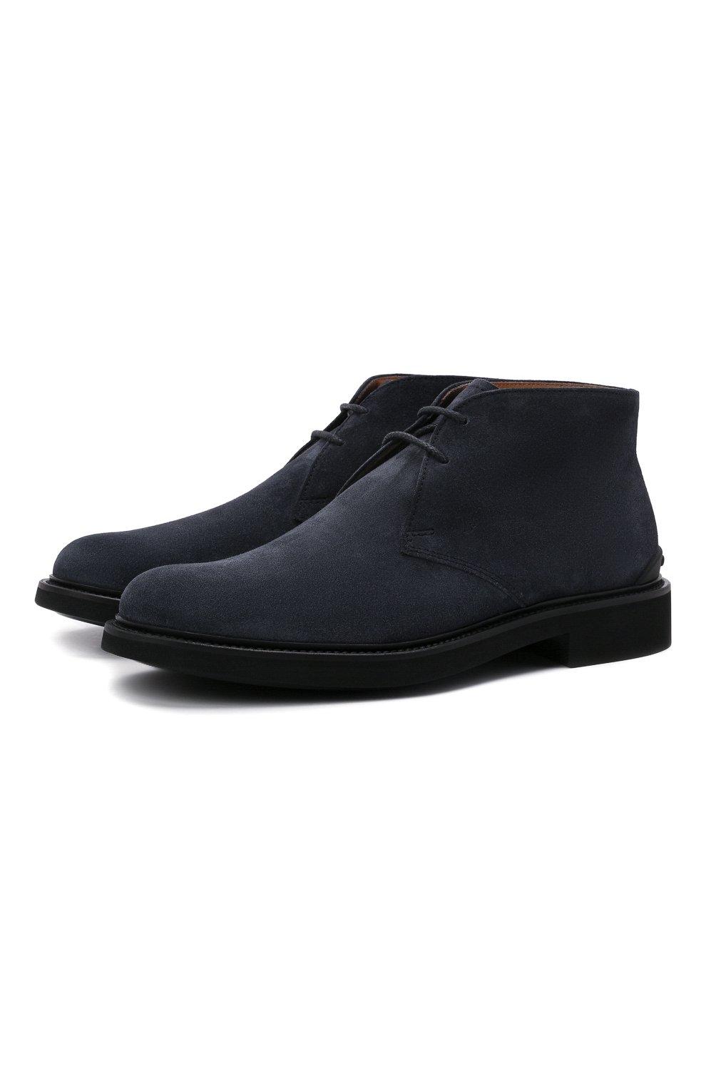 Мужские замшевые ботинки TOD'S темно-синего цвета, арт. XXM06H00D80RE0   Фото 1 (Мужское Кросс-КТ: Ботинки-обувь, Дезерты-обувь; Материал внутренний: Натуральная кожа; Подошва: Плоская; Материал внешний: Замша)