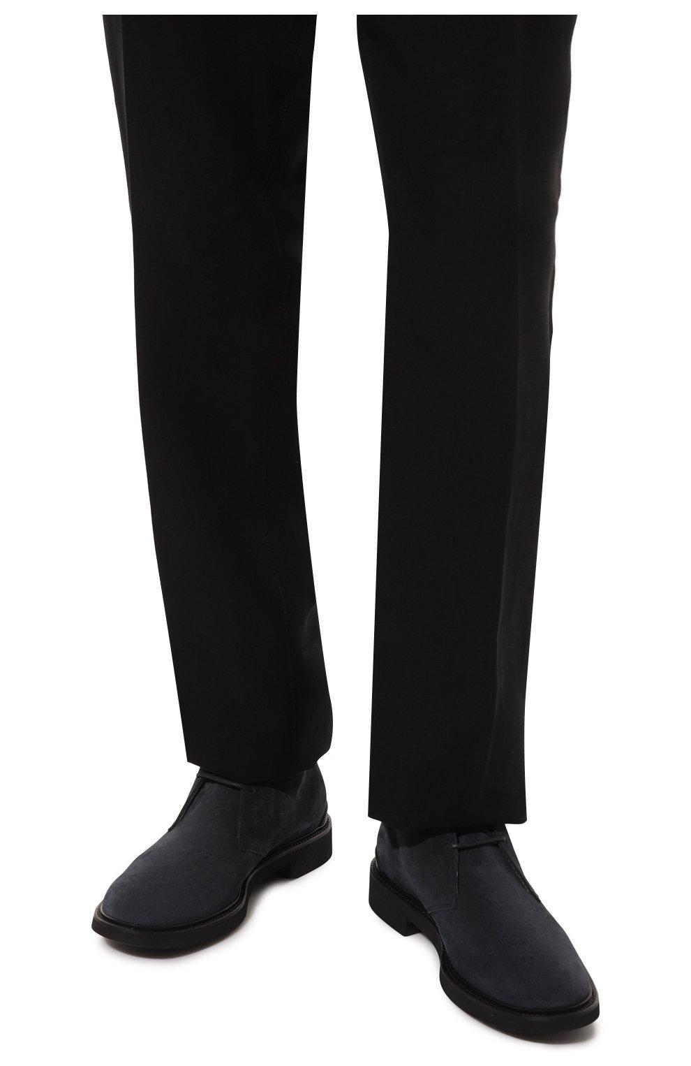Мужские замшевые ботинки TOD'S темно-синего цвета, арт. XXM06H00D80RE0   Фото 3 (Мужское Кросс-КТ: Ботинки-обувь, Дезерты-обувь; Материал внутренний: Натуральная кожа; Подошва: Плоская; Материал внешний: Замша)