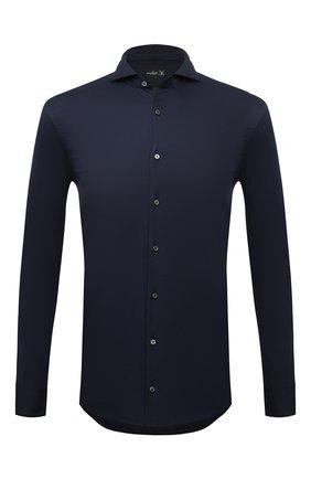 Мужская хлопковая рубашка VAN LAACK синего цвета, арт. M-PER-LSF/187049 | Фото 1 (Рукава: Длинные; Материал внешний: Хлопок; Длина (для топов): Стандартные; Случай: Повседневный; Принт: Однотонные; Стили: Кэжуэл; Воротник: Акула; Рубашки М: Classic Fit; Манжеты: На пуговицах)