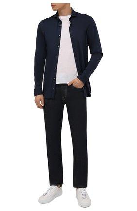 Мужская хлопковая рубашка VAN LAACK синего цвета, арт. M-PER-LSF/187049 | Фото 2 (Рукава: Длинные; Материал внешний: Хлопок; Длина (для топов): Стандартные; Случай: Повседневный; Принт: Однотонные; Стили: Кэжуэл; Воротник: Акула; Рубашки М: Classic Fit; Манжеты: На пуговицах)