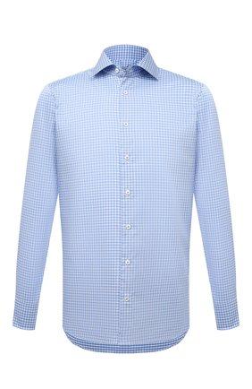 Мужская хлопковая сорочка VAN LAACK голубого цвета, арт. RIVARA-SF/162589 | Фото 1 (Материал внешний: Хлопок; Случай: Формальный; Стили: Классический; Принт: Клетка; Рукава: Длинные; Воротник: Акула; Рубашки М: Regular Fit; Манжеты: На пуговицах; Длина (для топов): Стандартные)