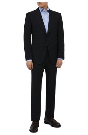 Мужская хлопковая сорочка VAN LAACK голубого цвета, арт. RIVARA-SF/162589 | Фото 2 (Материал внешний: Хлопок; Случай: Формальный; Стили: Классический; Принт: Клетка; Рукава: Длинные; Воротник: Акула; Рубашки М: Regular Fit; Манжеты: На пуговицах; Длина (для топов): Стандартные)