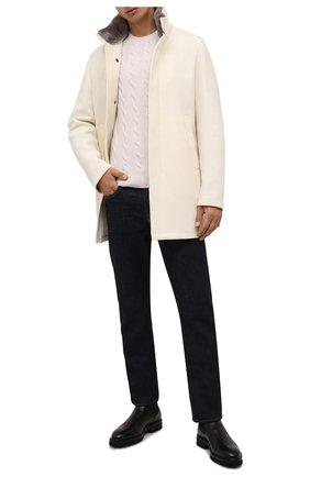 Мужской шерстяное пальто HERNO кремвого цвета, арт. CA0071U/39601 | Фото 2 (Материал внешний: Шерсть; Материал подклада: Синтетический материал; Мужское Кросс-КТ: пальто-верхняя одежда; Стили: Кэжуэл; Длина (верхняя одежда): До середины бедра; Рукава: Длинные)
