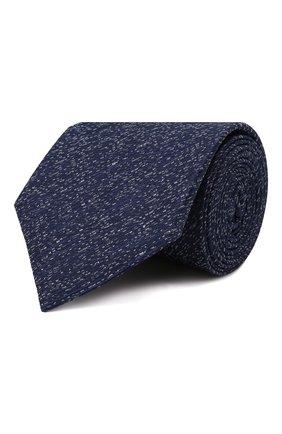Мужской шелковый галстук CANALI темно-синего цвета, арт. 70/HJ03247   Фото 1 (Материал: Текстиль, Шелк; Принт: С принтом)