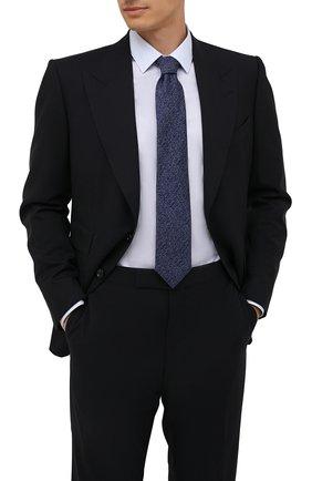 Мужской шелковый галстук CANALI темно-синего цвета, арт. 70/HJ03247   Фото 2 (Материал: Текстиль, Шелк; Принт: С принтом)