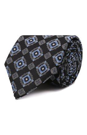 Мужской шелковый галстук CANALI темно-синего цвета, арт. 18/HJ03259   Фото 1 (Материал: Текстиль, Шелк; Принт: С принтом)