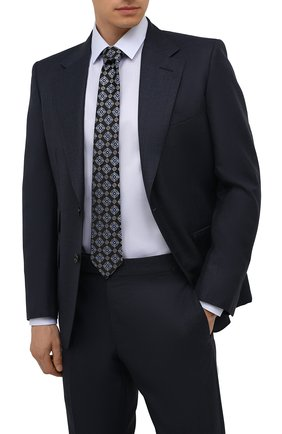 Мужской шелковый галстук CANALI темно-синего цвета, арт. 18/HJ03259   Фото 2 (Материал: Текстиль, Шелк; Принт: С принтом)