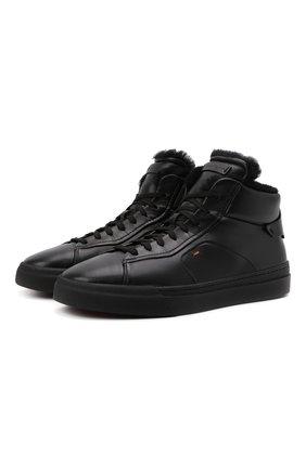 Мужские кожаные кеды SANTONI черного цвета, арт. MBGT21557NE0PNHRN01 | Фото 1