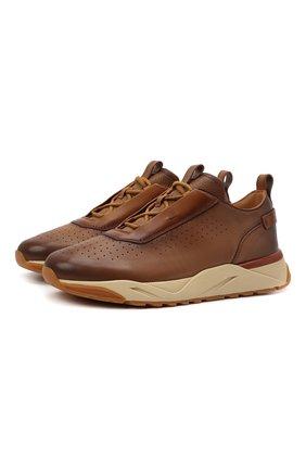 Мужские кожаные кроссовки SANTONI светло-коричневого цвета, арт. MBIM21611CGMTDYEC40 | Фото 1 (Материал внутренний: Натуральная кожа; Подошва: Массивная; Стили: Классический)